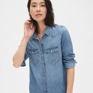 Denim western button up